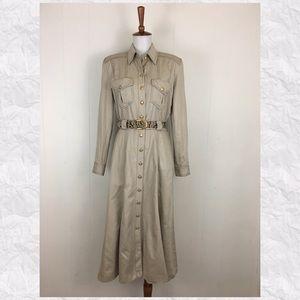 Vintage Long Sleeve Button Down Shirt Dress
